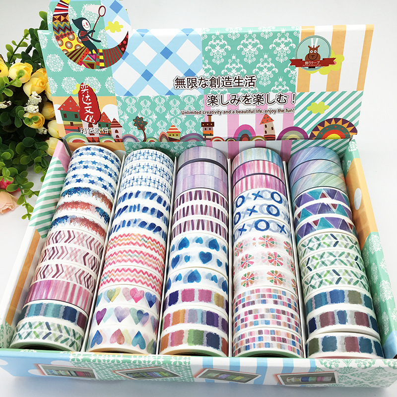 2017 New 1x Washi Tape Set 60Rolls 19Patterns Painting Heart Striped Masking Tape Colorful Scrapbooking Tools Adhesive Tape 10M iarts aha072962 hand painted thick texture of knife painting trees oil painting red 60 x 40cm