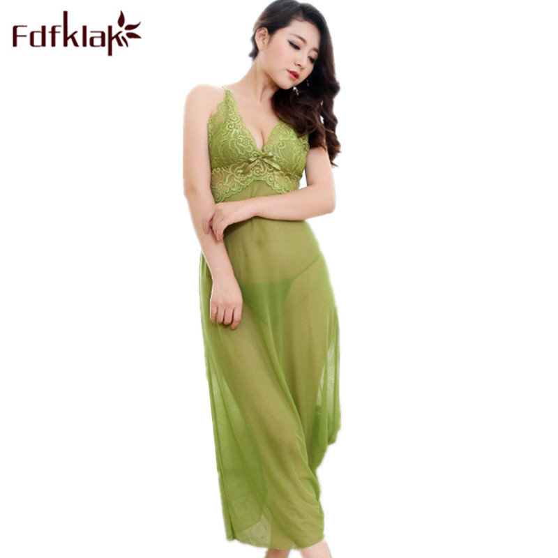 Fdfklak Lingerie Sexy Women   Nightgown   Silk Sleepwear Summer Deep V-Neck Spaghetti Strap   Nightgowns     Sleepshirts   Lounge Dress Q672