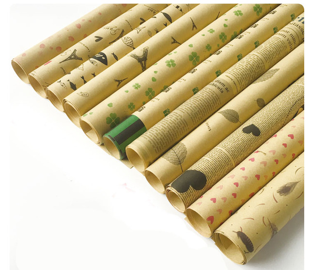 1e53681e4ca 20Pcs Lot Flower Packaging Paper Vintage Kraft Paper Rolls Cones Bouquet  Candy Boxes Birhtday Wedding