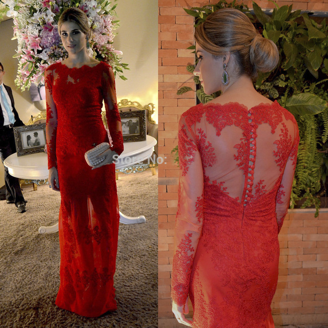 Hot 2017 Red Lace Mermaid Long   Evening     dresses   Plus Size Long Sleeve Sheer Back Prom Gown Celebrity Party   Dress   Vestido de noche
