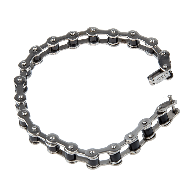 Stainless Steel Rubber Bike Bicycle Chain Bracelet Bangle 0.4