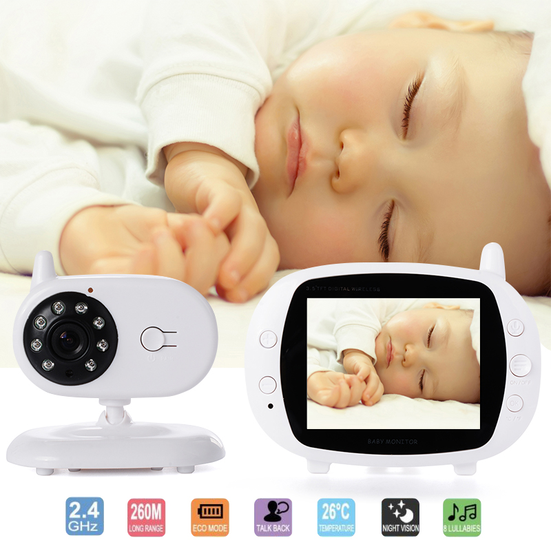 3.5 LCD Wireless Baby Monitor with Camera Video Babysitter Safety Night Vision 2 Way Talk Temperature Monitor Lullabies