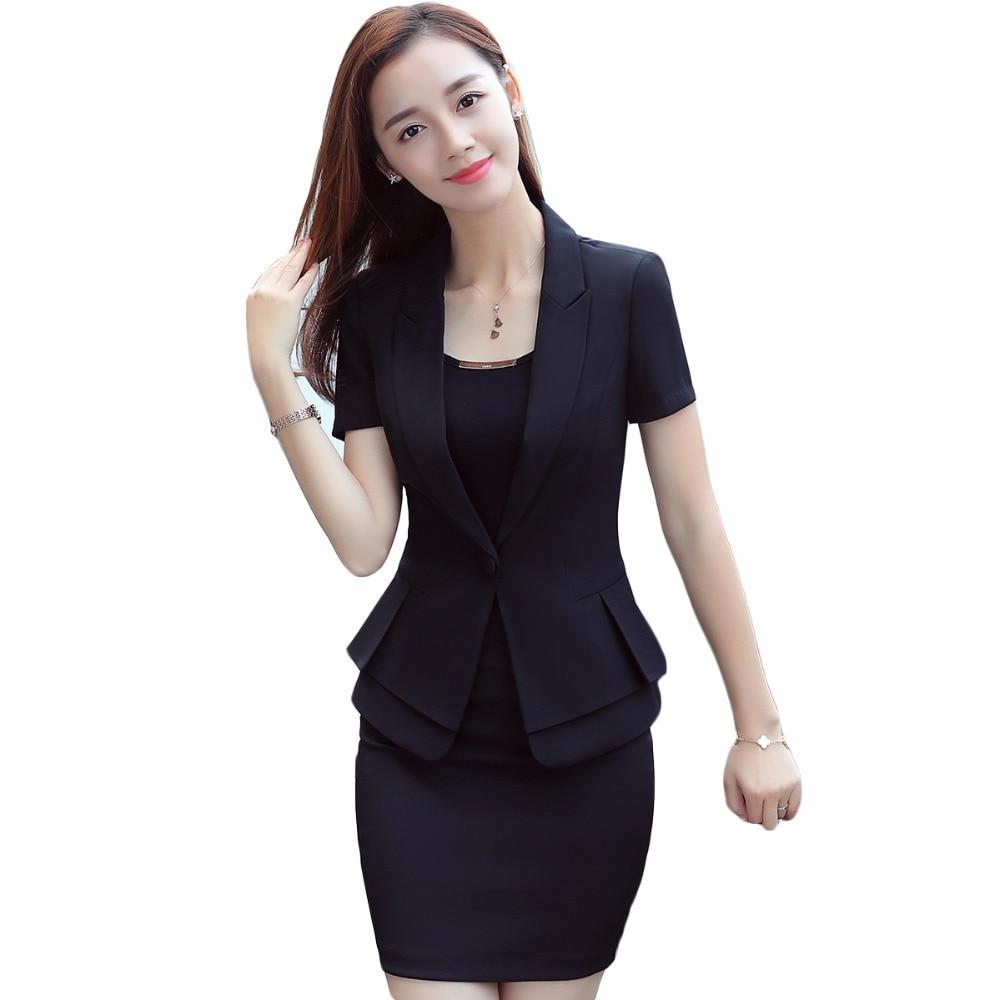 Women Pant Suit Uniform Designs Business Career Wear Short Sleeve Black Jacket Blazer With Pant For