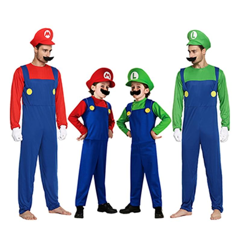 Zelená / červená Super Mario kostým Halloween Mario Brothers kostýmy Dítě nebo dospělý Cartoon kostým pro chlapec nebo dívka