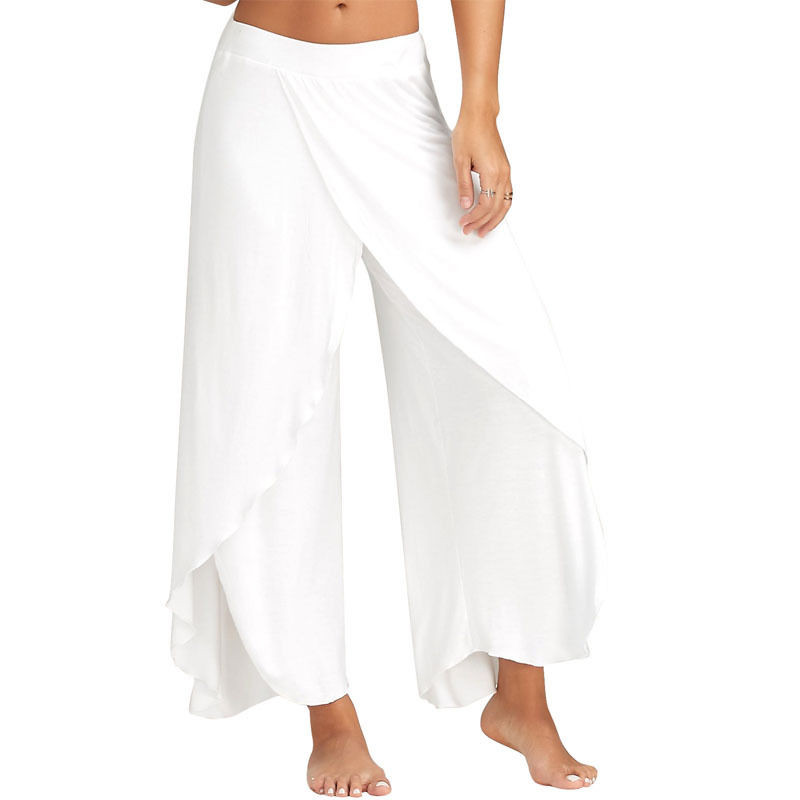 New Fashion Women Summer Casual Wide Leg Pants Solid Color Women Loose Stretch High Waist Wide Leg Long Pants Palazzo Trousers
