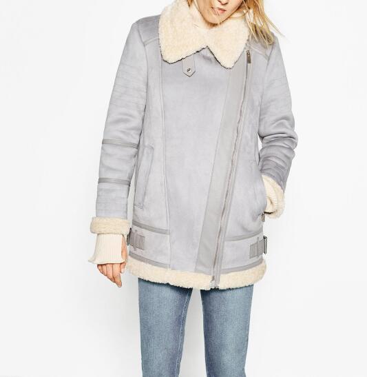 Woman 2016AW OVERSIZED Faux SUEDE-EFFECT JACKET zipped cuffs side buckled detail fleecy Lining Open Lapels collar Warm Coat