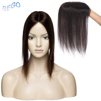 SEGO 12 inches Straight Silk Base Hair Topper Toupee For Women Natural Color Hair Piece Clip In Hair Extensions Non Remy hair30G