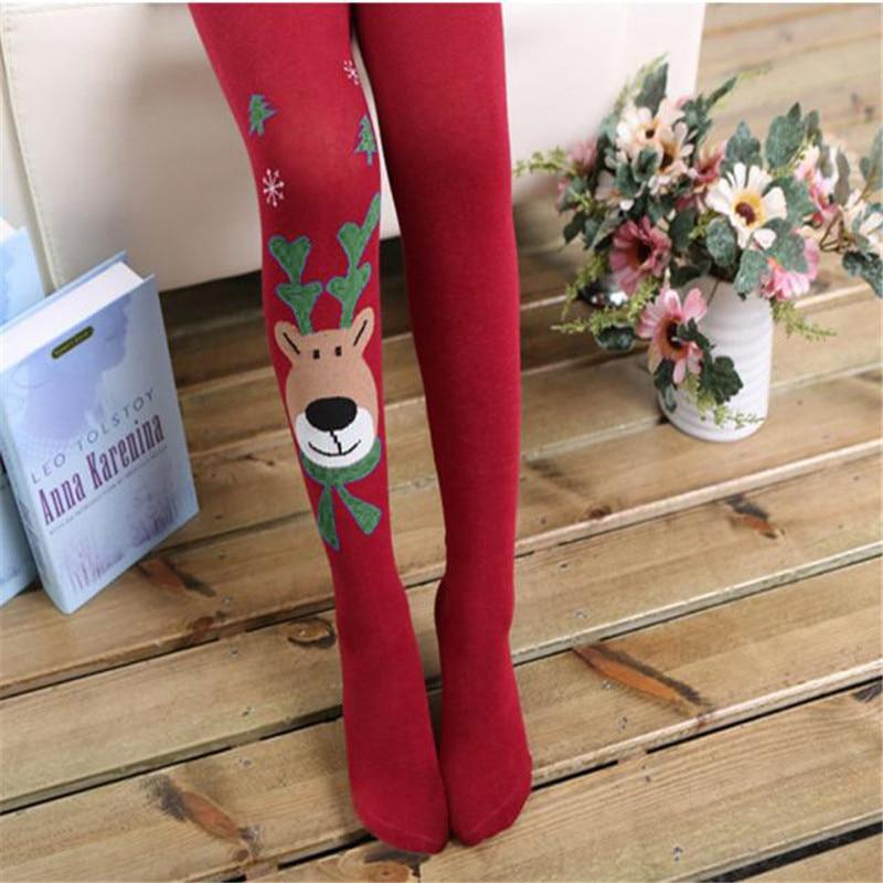 Kid Girl Elasticity Tights Soft Christmas Stocking Elk Print Splice Cotton Thigh High Pantyhose Kawaii Funny Medias De Mujer #TW