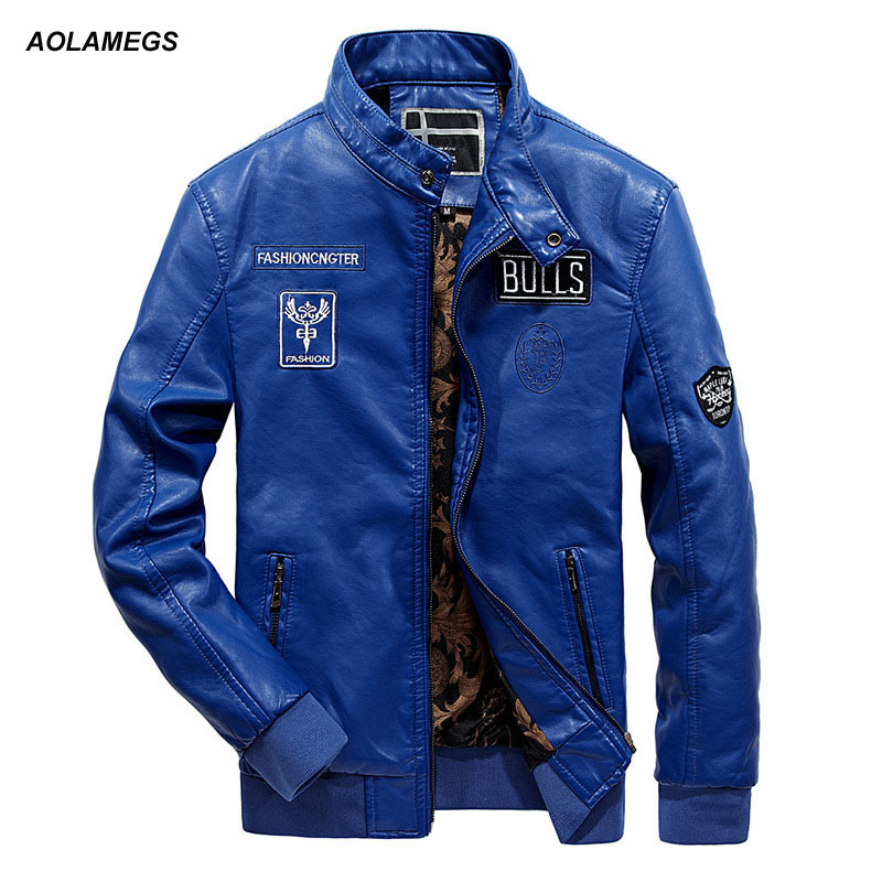 Aolamegs Men Leather Jacket Fashion Leisure Biker Jackets New High Quality Letter Embroidery Casual Male PU Leather Coat Outwear