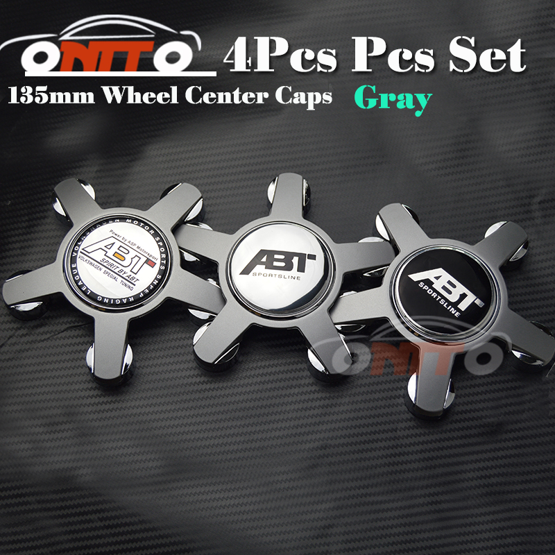Free shipping 135MM 5claw black /gray base 4pcs wheel center Cover Car Logo Badge Emblem Car Auto wheel hub caps for audi