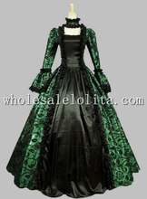 Gothic Black and Green Printing Historical Halloween Costume Ball Gown Lace Up Back Vintage Ball Gown Reenactment Clothing