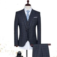 2017 new arrival High quality single Breasted plaid casual suit men,men's Business suits,navy blue wine red size S -2XL