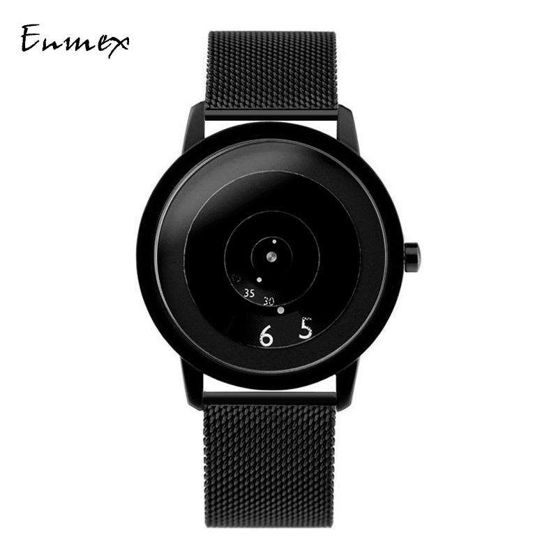 2019Enmex creative style Genuine leather band wristwatch focal point special design discs hands fashion men casual quartz  watch(China)