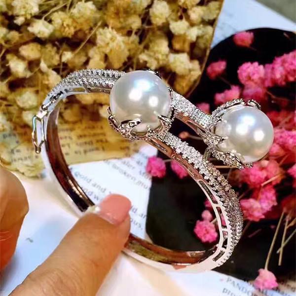 Designer Fashion 925 Sterling Silver Jewelry Platinum Plated 3A Cubic Zirconia Party Pearl Bangle