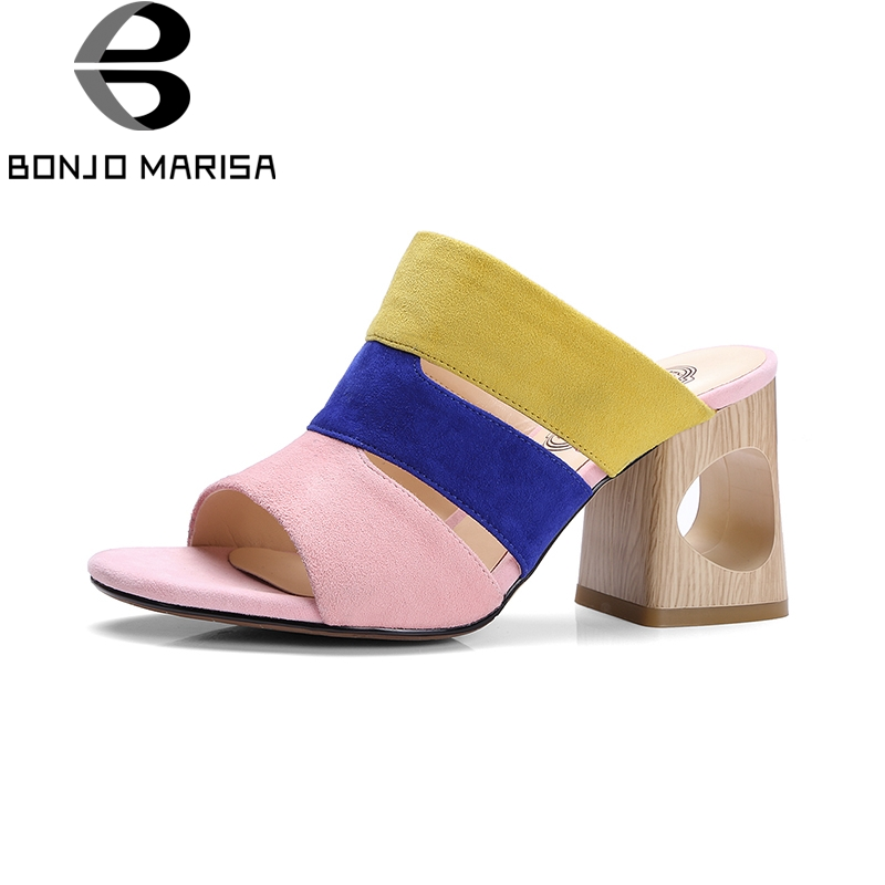 BONJOMARISA Brand New Fashion Kid Suede Leather Woman Slip On Mix Color High Heel Women Shoes Casual Summer Sandals Women