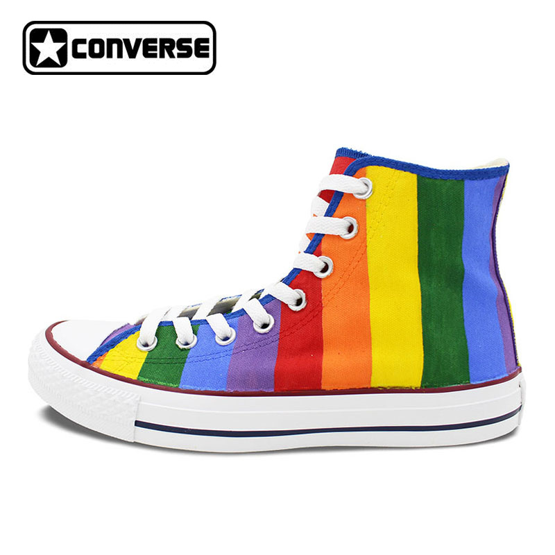 Colourful Converse All Star Women Men Shoes Rainbow Original Design Hand Painted Shoes Woman Man High Top Canvas Sneakers sneakers men women converse all star anime fairy tail galaxy design custom hand painted shoes man woman christmas gifts