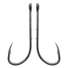 100pcs 92247 High Carbon Steel Fishing Hooks Black Offset Long Barbed Shank Baitholder Bait Hook Size 1 1/0 2/0 3/0 4/0 5/0 6/0