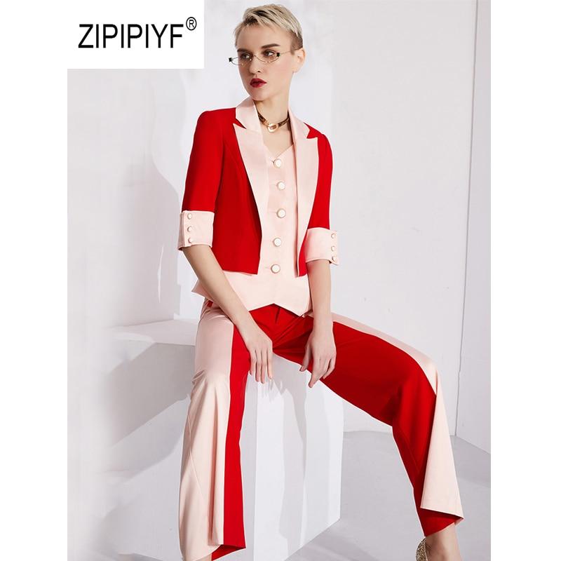 Kadın Giyim'ten Kadın Setleri'de Orijinal 2 Adet Set iş elbisesi Patchwork Kontrast Desen Çentikli Tek Göğüslü Blazers Kadınlar Wideleg Pantolon Takım Elbise AB427'da  Grup 1