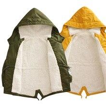 Prosic Baby Boys Girls Hooded Jacket Coat Winter Kids Boy Windbreaker Plus Thicken Fleece Velvet Outerwear Clothes