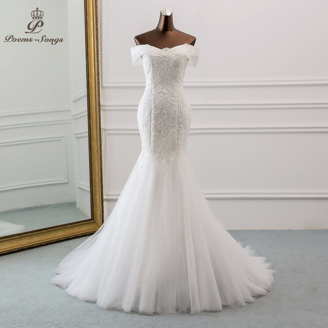 PoemsSongs  2019 new style Boat Neck beautiful sequined lace wedding dress for wedding Vestido de noiva Mermaid wedding dresses 1