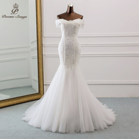 PoemsSongs 2019 new style Boat Neck beautiful sequined lace wedding dress for wedding Vestido de noiva Mermaid wedding dresses