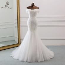 Vestido de casamento sereia 2020, novo estilo, barco, gola, lantejoulas, vestido de noiva