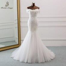 Vestido de novia bonito con lentejuelas y cuello de barco, novedad, 2020, para boda, sirena, de boda