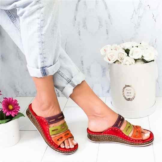 Zapatillas de verano 2019 para mujer, zapatos de punta abierta, cuñas informales de tacón alto para mujer, zapatos de Roma