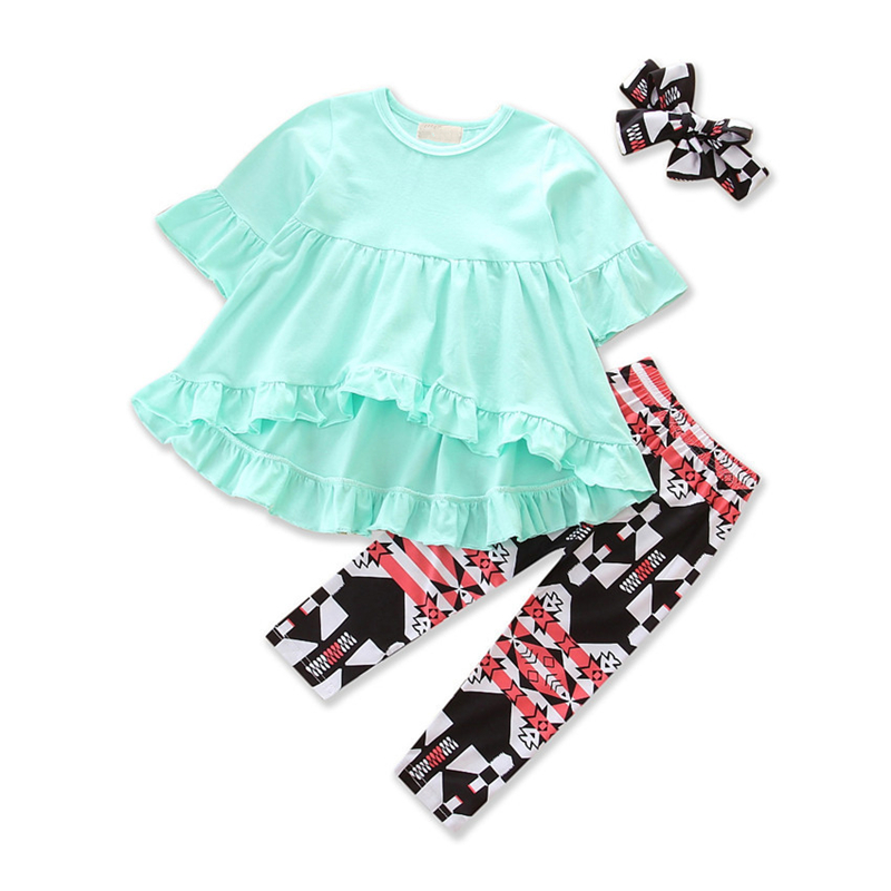Autumn Clothes Sets Girls Irregular Flower Shirt Tops+  Striped Suit Baby Cotton Clothing Suit Infant Costume Casual Jackets Set