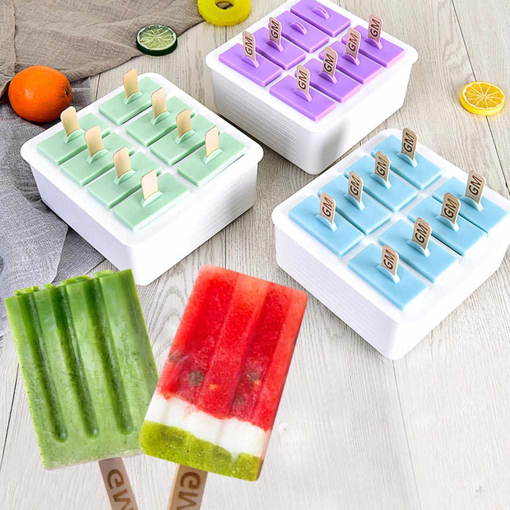 6pcs DIY Ice Cream Popsicle Mould Silicone Tray Lolly Mould Frozen Yogurt Icebox
