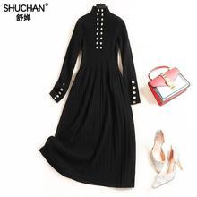 Shuchan Long Sleeve Turtleneck Dress For Women High Street Button Mid-calf Stylish Women Clothes Winter New Arrival For Women