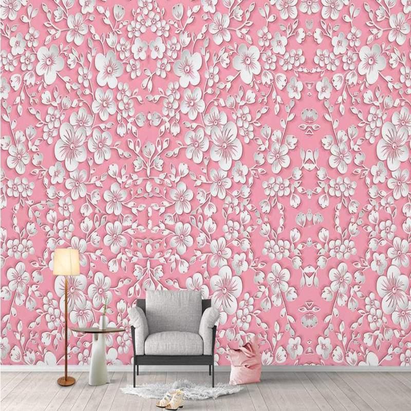Pink Wallpaper Desktop Girls Bedroom Modern Custom 3 d Wallpaper Nature Home Decor Flower Wall Picture for Living Room Bedroom цена