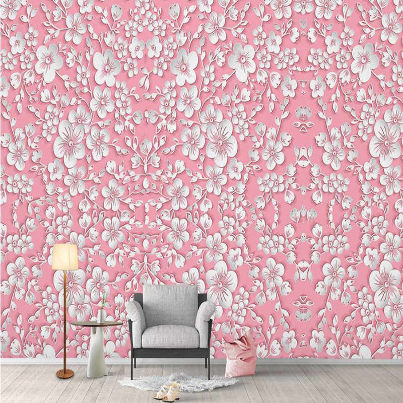 Pink Wallpaper Desktop Girls Bedroom Modern Custom 3 D Wallpaper Nature Home Decor Flower Wall Picture For Living Room Bedroom Wallpaper Girls Pink Wallpaperflower Wallpaper Aliexpress
