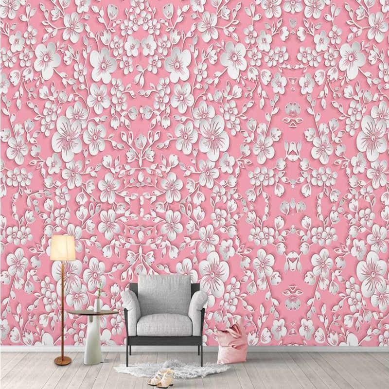 Pink Wallpaper Desktop Girls Bedroom Modern Custom 3 D Wallpaper Nature Home Decor Flower Wall Picture For Living Room Bedroom Wallpaper Girls Pink Wallpaperflower Wallpaper Aliexpress