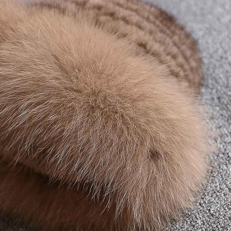 Réel vison fourrure femme chapeau renard fourrure beanie casquettes hiver femme chapeaux mode vison fourrure tricot chapeau - 3