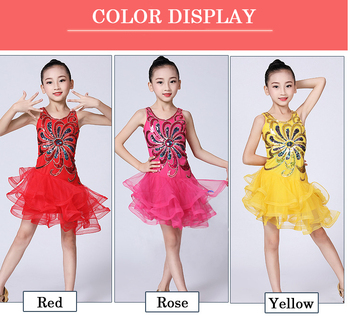 Children Latin Dance Dress New Sequins Mesh Latin Dance Stage Performance Clothing Girls Latin Tango Salsa Competition Dress Red