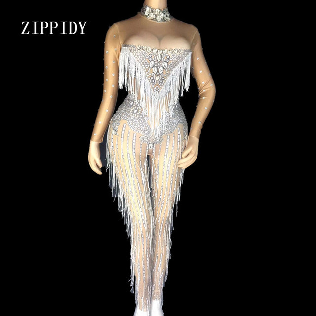 Sexy Tassels Crystals Jumpsuit Female Singer Dancer Sexy Leggings Costume Big Stretch Bodysuit Nightclub Oufit Party Wear Outfit
