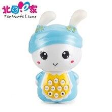 Mini mooie plastic elektrische cartoon licht muziek spelen konijn verhaal machine kinderen vroege educatief baby speelgoed grappige games