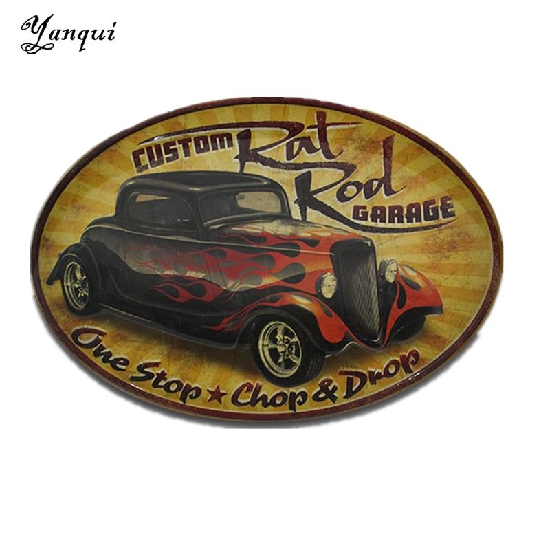 Online Shop Custom Rat Rod Garage One Stop Chop&Drop Metal Tin Signs ...