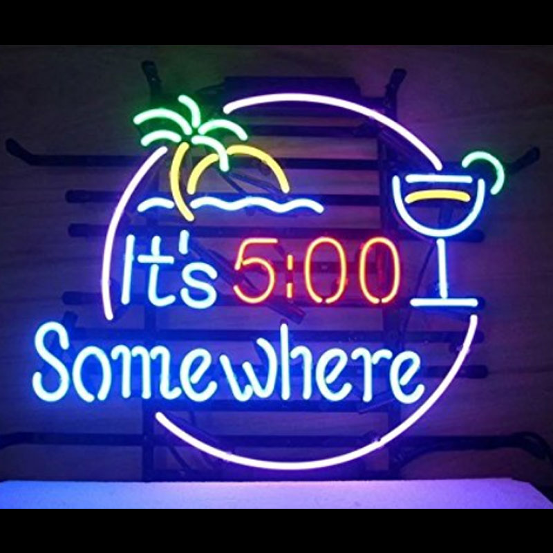 It is 5 pm somewhere Neon Sign Beer Neon Bulbs Real Glass Tube Handcrafted Neon Beer Sign Custom LOGO Shop Advertising VD 17x14 wild at heart neon sign advertise custom logo neon bulb beer glass tube handcrafted neon glass tubes recreation room lamps 17x14