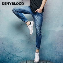 Denyblood Jeans Mens Stretch Denim Slim Straight Distressed Jeans Ripped Darked Wash Casual Pants High Quality Trousers 151097