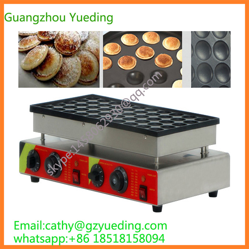 CE certificate Poffertjes grill for sale /Electric 50 holes poffertjes grill pancake machine double pans small pancake machine poffertjes machine with non stick pan poffertjes grill waffle maker with 50 pcs moulds
