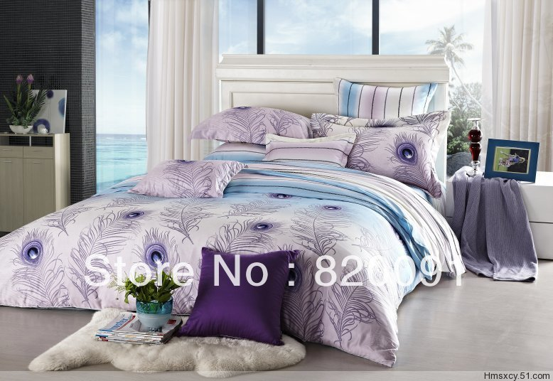 4PCS Floral Printed Queen Size Duvet Cover Beautiful Peacock Feather  Bedding Set Bedroom Decor 100%