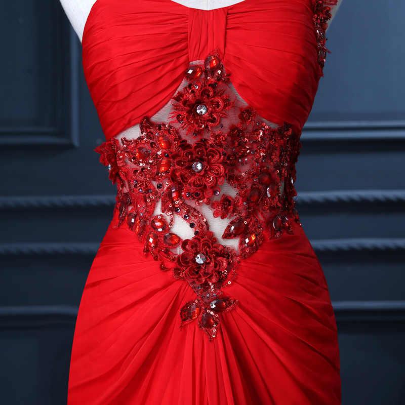 Длинные вечерние платья 2019 красный разрез Кристаллы бисером Vestidos De Festa Выпускные платья Бесплатная доставка на заказ