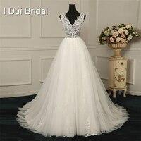 V Neck A Line Lace Light Wedding Dresses Appliqued Beaded Factory Real Photo Custom Made To