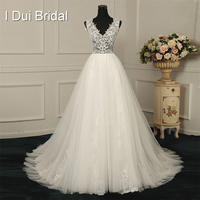 V Neck Lace Wedding Dresses Illusion Top A Line Appliqued Beaded Factory Real Photo Custom Made to Measurements