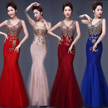 JSJ130#Bridal Wedding party toast gown new arrival spring summer 2017 fishtail dress blue long Lace bridesmaid dresses wholesale