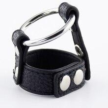 Мужской Целомудрие петух устройства и мяч связывание BDSM Секс игрушки для Для мужчин регулируемый мошонки Кожа Связывание пояс с металлической кольцо