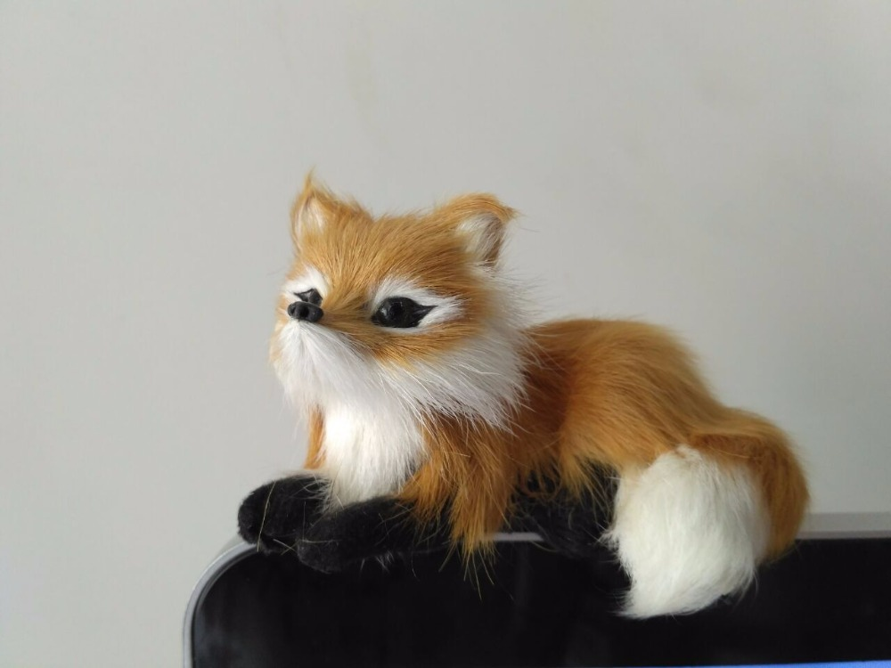 small simulation fox toy mini lifelike brown model home decoration gift
