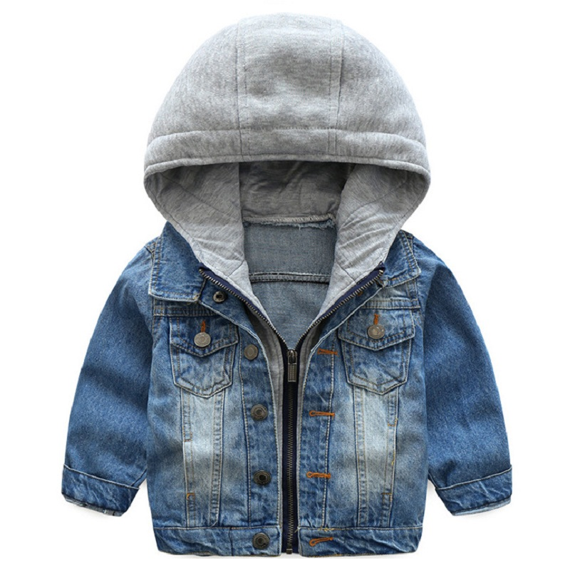 2018 New Spring Boys Girls Denim Jackets 1-8 year Child baby Hooded Jacket High quality trend cowboy clothes the new high quality imported green cowboy training cow matador thrilling backdrop of competitive entrance papeles
